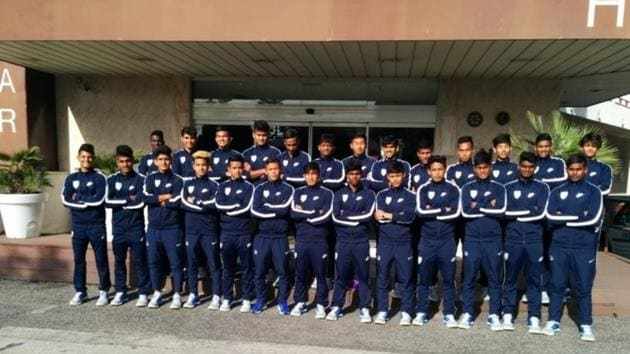 The India U-17 World Cup squad were thrashed 4-1 by Estoril in a practice match in Lisbon.(AIFF)