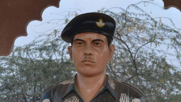 Statue of Lance Naik Hemraj Singh installed in village Sher Nagar in Mathura district.(HT Photo)