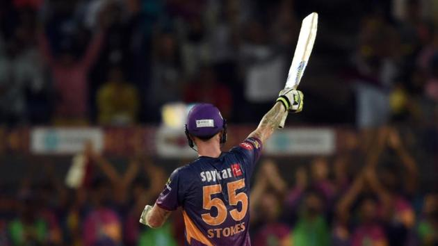 Rising Pune Supergiant's (RPS) Ben Stokes celebrates after scoring a century against Gujarat Lions (GL) in their 2017 Indian Premier League (IPL) match at the Maharashtra Cricket Association Stadium in Pune on Monday.(AFP)