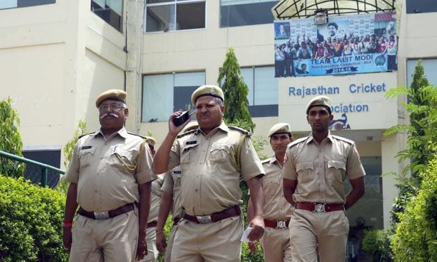 Police officials deputed at SMS Stadium in Jaipur on Tuesday. The RCA elections will be held on May 29.(HT Photo)