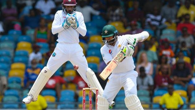 Azhar Ali (right) of Pakistan cricket team during his innings of 81 n.o. against the West Indies cricket team on Day 2 of the 2nd Test at Kensington Oval, Bridgetown, Barbados, on Monday.(AFP)