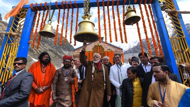 Prime Minister Narendra Modi conducted a special puja at the Kedarnath temple in Uttarakhand on Wednesday morning.(Twitter/ PMO India)