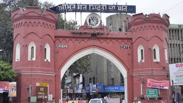 A view of the Hall gate Amritsar. Hall Gate, built in 1873 and named after the then deputy commissioner CH Hall, was renamed Gandhi Gate after independence.(Sameer Sehgal/HTPhoto)