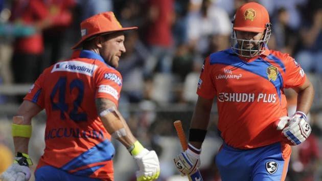 Gujarat Lions batsmen Brendon McCullum, left and Suresh Raina in action during the Indian Premier League (IPL) 2017.(AP)