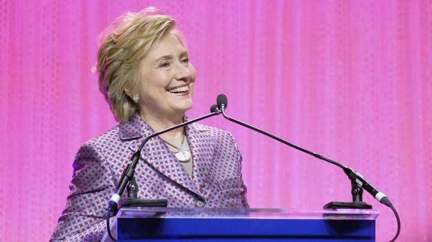 Former secretary of state Hillary Clinton speaks at the Planned Parenthood 100th Anniversary Gala on Tuesday in New York.(AP)