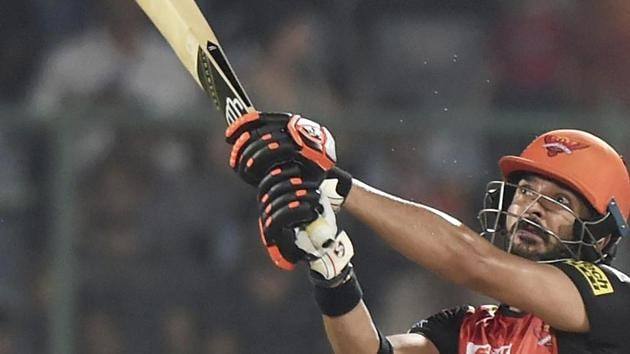 Yuvraj Singh of Sunrisers Hyderabad (SRH) hits a maximum during his innings in the Indian Premier League (IPL) match against Delhi Daredevils (DD) on Tuesday.(PTI)
