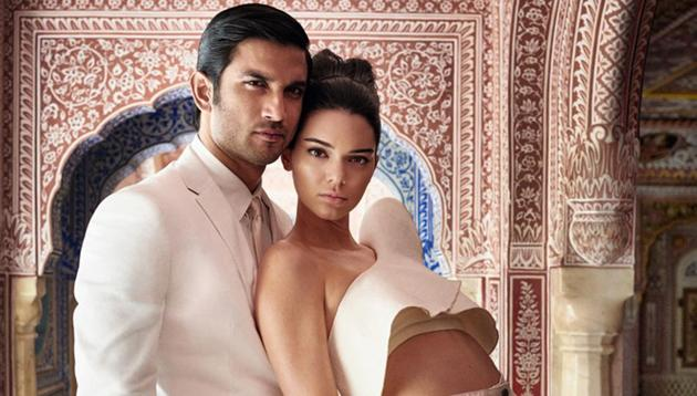 Actor Sushant Singh Rajput and Kendall Jenner pose for the Mario Testino shot.(Vogue India)