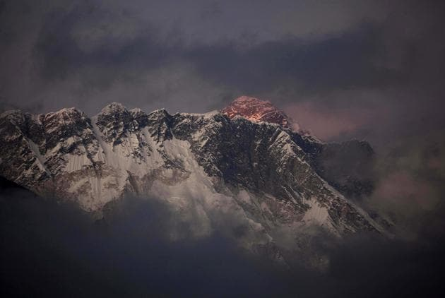 File photo of the sun setting on Mount Everest.(AP)