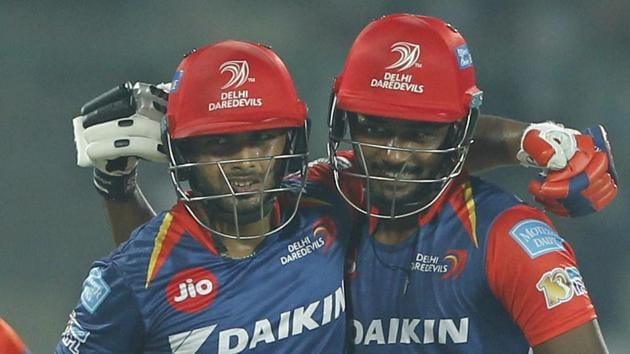 Rishabh Pant (left) and Sanju Samson stitched a 143-run partnership for the second wicket during their 2017 Indian Premier League against Gujarat Lions at the Feroz Shah Kotla in Delhi on Thursday. Catch full cricket score of Delhi Daredevils vs Gujarat Lions here.(BCCI)
