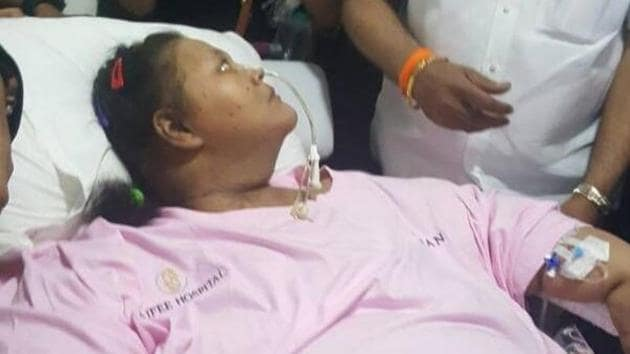 Eman Ahmed while leaving from Mumbai hospital on Thursday.(HT)