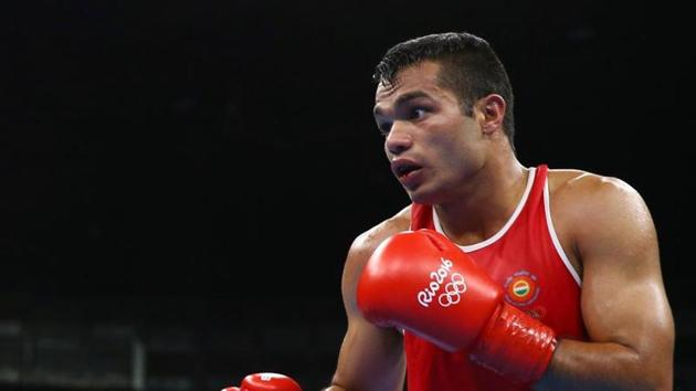 Indian boxer Vikas Krishan ended with a bronze at the Asian Championships in Tashkent.(Reuters)