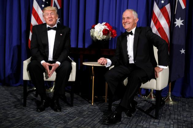 US President Donald Trump meets with Australia's Prime Minister Malcolm Turnbull ahead of an event commemorating the 75th anniversary of the Battle of the Coral Sea, in New York on Friday.(REUTERS)