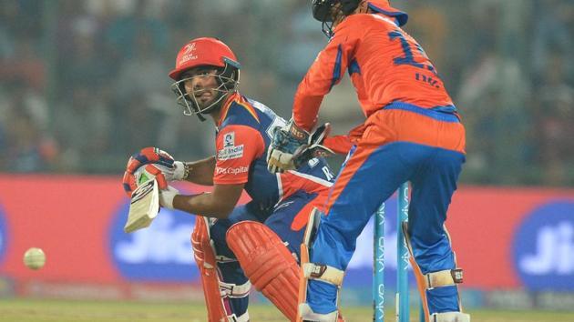Delhi Daredevils batsman Rishabh Pant plays a shot during the 2017 Indian Premier League T20 match vs Gujarat Lions at the Feroz Shah Kotla Stadium in New Delhi on Thursday.(AFP)