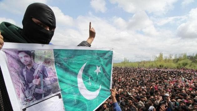 """Top Hizbul commander Zakir Rashid Bhat was seen in a video this March in which he accused Kashmiri policemen and their informers of committing """"anti-Islamic acts"""" by """"joining the evil"""".(Getty Images Representative Photo)"""