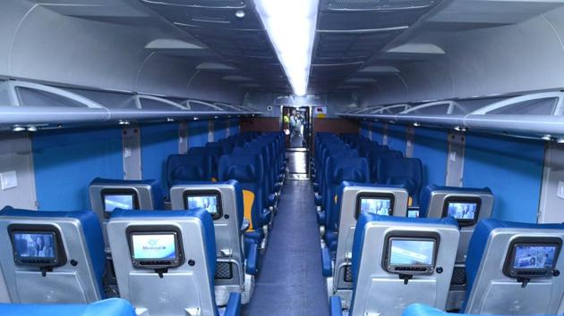 A view of a coach in Tejas Express at RCF Kapurthala.(HT Fhoto)