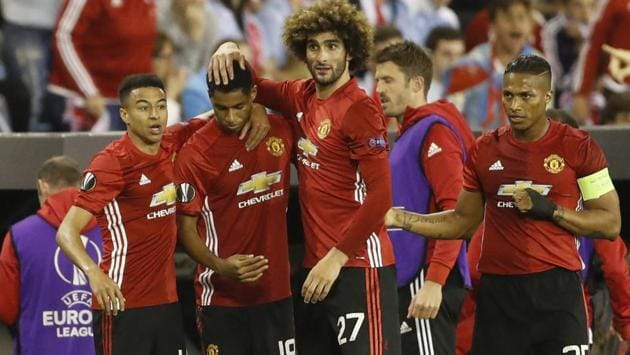 Manchester United's Marcus Rashford (second from left) celebrates scoring against Celta Vigo in UEFA Europa League semi-final.(REUTERS)