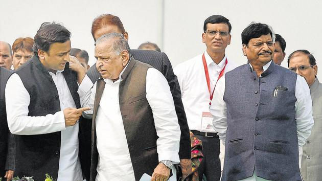 The battle for the party peaked in January, when Akhilesh snatched control of the party from his father. But the bitter tussle was seen as among the reasons for the party's loss.(PTI file)