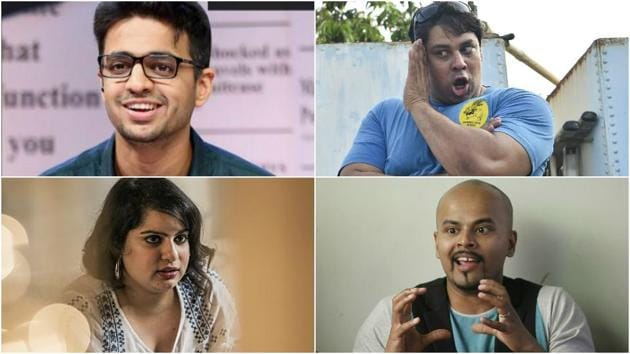 Clockwise from bottom left: Comedians Mallika Dua, Rohan Joshi, Cyrus Broacha, and Sorabh Pant.
