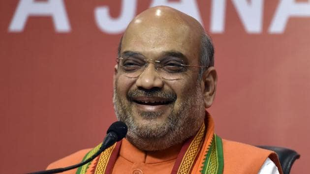 BJP president Amit Shah will address a public meeting during his visit on Saturday.(HT FILE)