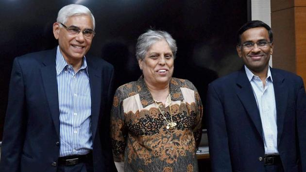 Members of the Supreme Court-appointed Committee of Administrators (COA) of the Board of Control for Cricket in India (BCCI) after a meeting in Mumbai.(PTI)