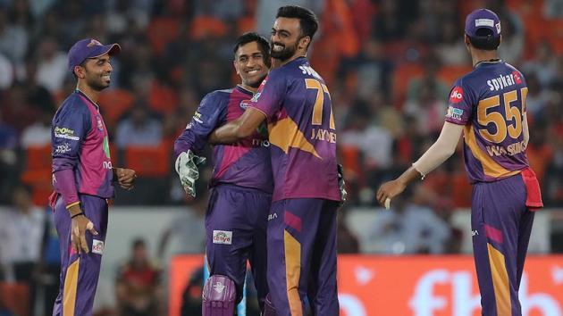 Jaydev Unadkat of Rising Pune Supergiant celebrates after completing his hattrick against Sunrisers Hyderabad. Get highlights of Sunrisers Hyderabad vs Rising Pune Supergiant here.(BCCI)