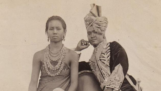 Royal Couple: Maharaja Churachand Singh and Maharani Dhanamanjuri Devi of Manipur, 1905. The photograph was taken on the occasion of their wedding.(Imasi: The Maharaj Kumari Binodini Devi Foundation)