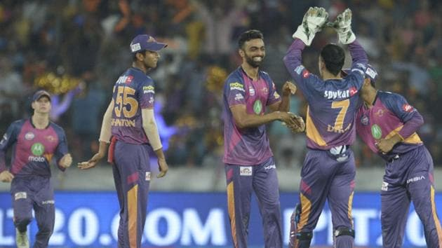 Rising Pune Supergiant's Jaydev Unadkat (C) celebrates after taking five wickets against Sunrisers Hyderabad during their 2017 Indian Premier League (IPL) T20 match at the Rajiv Gandhi International Cricket Stadium in Hyderabad on Saturday.(AFP)