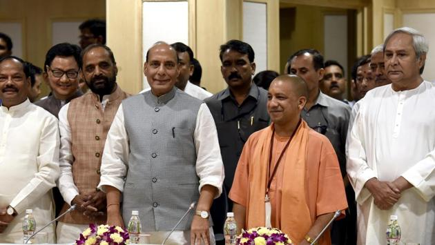 Union home minister Rajnath Singh during review meeting on development issues of LWE-affected states at Vigyan Bhawan in New Delhi, on Monday, May 8, 2017.(Sushil Kumar/HT Photo)