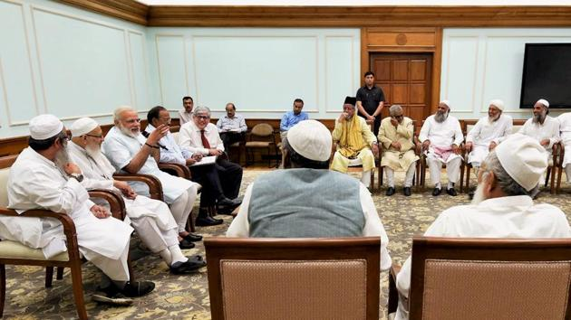 A delegation of leaders from the Muslim community, under the umbrella of the Jamiat Ulama-i-Hind meeting Prime Minister Narendra Modi in New Delhi on Tuesday.(PTI Photo)