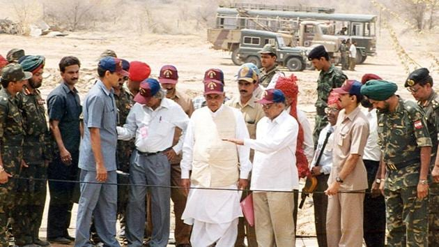 Seen above at the test site, then Prime Minister Atal Bihari Vajpayee with then scientific advisor to defence minister Dr.A.P.J Abdul Kalam along with DRDO, AMD and BARC expedited the Pokhran II nuclear tests. (Girish Srivastava/HT Photo)