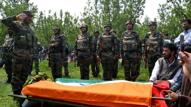The abduction and murder of 23-year-old Lieutenant Ummer Fayaz in Shopian district of south Kashmir has evoked mixed reaction in social media.(HT PHOTO)