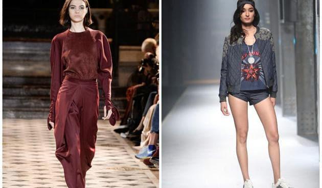 (L-R) A model walks the ramp for Paris Fashion Week; a model walks the ramp for a fashion week in India.