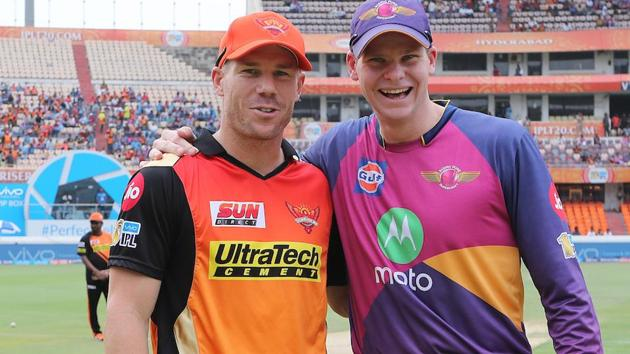 David Warner (L) and Steve Smith are both captains of their respective IPL franchises.(BCCI)