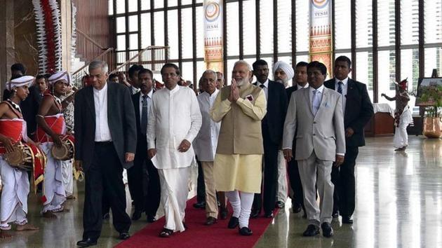 Prime Minister Narendra Modi, Sri Lankan President Maithripala Sirisena (in white) and Prime Minister Ranil Wickremesinghe (in black suit) at the the 14th International Vesak Day celebrations in Colombo on Friday.(PMO Twitter)