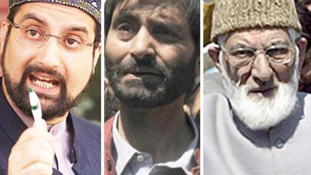 A combination photo of Kashmiri separatist leaders Mirwaiz Umar Farooq, Yasin Malik and Syed Ali Shah Geelani.(Agencies)