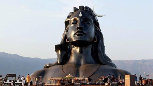 The 112-feet iconic statue of Adiyogi Lord Shiva that was unveiled by Prime Minister Narendra Modi at Isha Foundation in Coimbatore on the occasion of Maha Shivratri.(PTI File Photo)