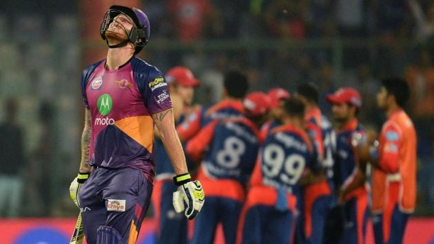 Rising Pune Supergiant (RPS) batsman Ben Stokes walks back to the dugout after getting dismissed during the 2017 Indian Premier League (IPL) match against Delhi Daredevils in New Delhi on Friday.(AFP)