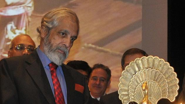 Justice Madan B Lokur during lighting of the lamp on the occasion of Global Pound Conference at Judicial Academy in Sector 43, Chandigarh, on Friday.(Karun Sharma/HT Photo)