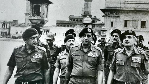 Senior army officers at the site of Operation Bluestar, which was ordered in 1984 by Indira Gandhi, then prime minister, to remove Sikh separatists who were amassing weapons in the Golden Temple in Amritsar.(India Today Group/Getty Images)
