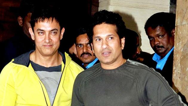 Sachin Tendulkar says he and Aamir Khan are great friends and that the Bollywod actor helped him during the making of Sachin: A Billion Dreams(AFP)