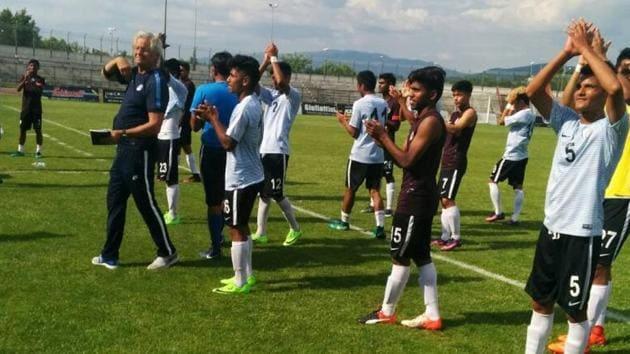 The India FIFA U-17 World Cup team beat an Italian team in Arezzo on Friday.(AIFF)