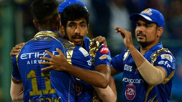 Mumbai Indians players celebrate after their win over Kolkata Knight Riders in the IPL 2017 Qualifier 2 match.(AFP)