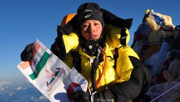 Anshu Jamsenpa unfurled the Tricolour on the mountain's crest on May 16 at 9am, and completed the feat a second time at 7.45am on Sunday.(HT Photo)