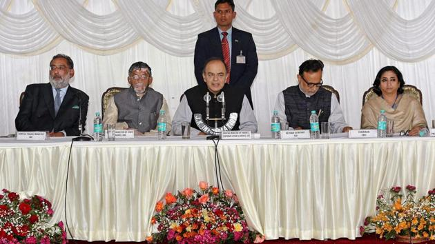 Finance minister Arun Jaitley with other leaders addresses a press conference on the concluding day of the 14th Goods and Services Tax (GST) Council meet in Srinagar.(PTI Photo)