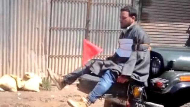 The video showing a man tied to a jeep as a human shield against protesters had triggered outrage in Kashmir.(Photo: Twitter/Omar Abdullah)