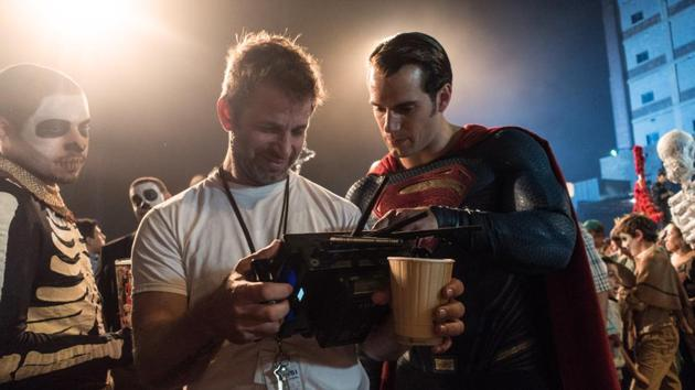 Zack Snyder directs Henry Cavill on the sets of Batman v Superman: Dawn of Justice.