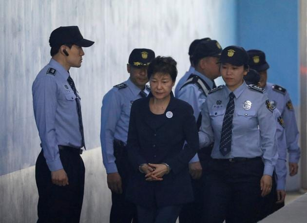 Former South Korea President Park Geun Hye arrives at a court in Seoul,(Reuters)