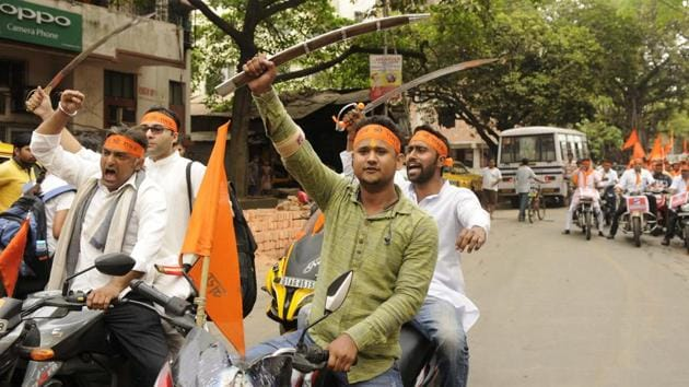 A Ram Navami procession in Kolkata, April 5, 2017(Samir Jana/HT PHOTO)