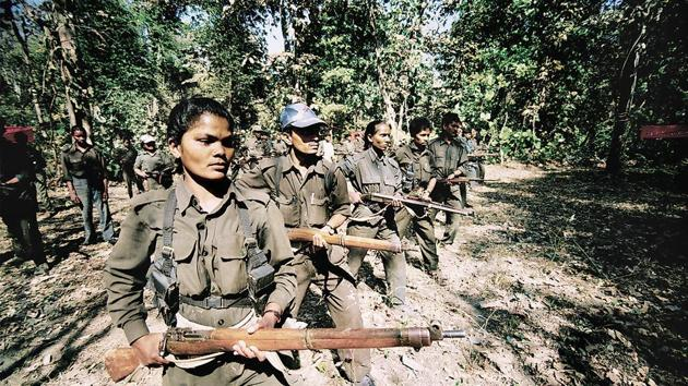 Naxals traning camp in Andhra Pradesh. With the 50th anniversary of the Naxalite movement, security forces stationed in the Red Corridor are on high alert.(P.Anil kumar/HT PHOTO)