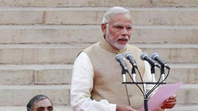 It has been three years since Narendra Modi took oath as prime minister, leading the first government at the centre to rule with a single-party majority since 1989.(Ajay Aggarwal/HT Photo)